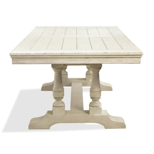 Aberdeen - 80-inch Rectangular Dining Table Base - Weathered Worn White Finish