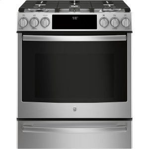 "GE ProfileSeries 30"" Slide-In Front Control Gas Range"