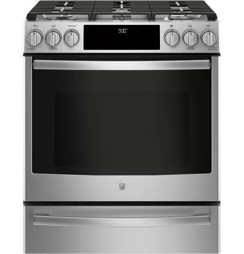 "GE Profile Series 30"" Slide-In Front Control Gas Range"