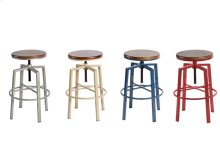"Dorian Backless Adjustable Barstool, Silver,18""x18""x24-30"""