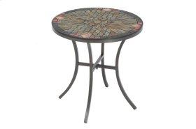 """Sagrada 20"""" Round Side Table w/ Ceramic Tile Top & Iron Base"""