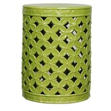 Lattice Leaves Garden Stool, Dark Green