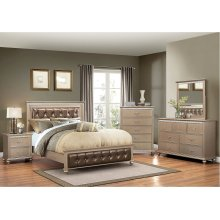 1008 Hollywood Champagne Queen Bed with Dresser & Mirror