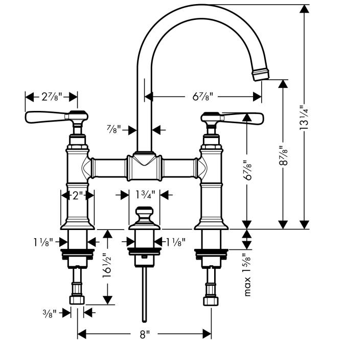 Additional Chrome Widespread Faucet w/Lever Handles, Bridge Model