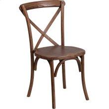 Stackable Pecan Wood Cross Back Chair