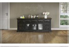 "83"" TV Stand w/ 5 Drawer, 2 wooden Doors & 3 Glass Doors"
