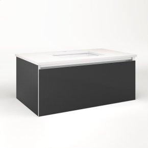 "Cartesian 36-1/8"" X 15"" X 21-3/4"" Single Drawer Vanity In Smoke Screen With Slow-close Plumbing Drawer and No Night Light"