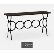 Dark Ale Console with Circular Wrought Iron Base