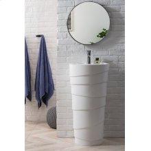 "Quebec 17.5"" Solid Surface Pedestal Sink, Bright White"