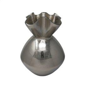 """Ruffled Top 13.5"""" Aluminum Vase, Silver"""