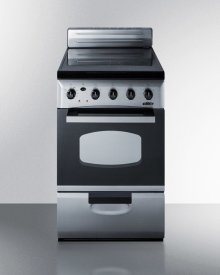 """20"""" Wide Value Line Smooth-top Electric Range In Stainless Steel With Oven Window and Lower Storage Drawer"""
