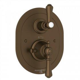 English Bronze Perrin & Rowe Georgian Era Oval Thermostatic Trim Plate With Volume Control with Georgian Era Solid Metal Lever