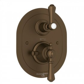 English Bronze Perrin & Rowe Georgian Era Oval Thermostatic Trim Plate With Volume Control with Georgian Era Solid Metal Lever