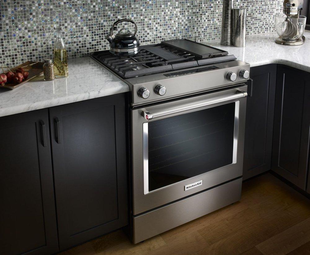 Ksdg950ess Kitchenaid 30 Inch 4 Burner Dual Fuel Downdraft Slide In