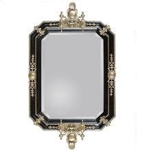 BLACK LACQUER FINISHED CAST RE SIN MIRROR WITH VINTAGE SI LVER ACCENTS, BEVELED GLASS