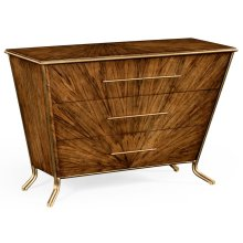 Argentinian Walnut Veneered Tapering Chest of Drawers