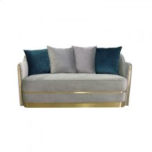 Divani Casa Ardine Modern Grey Velvet & Gold Loveseat Sofa