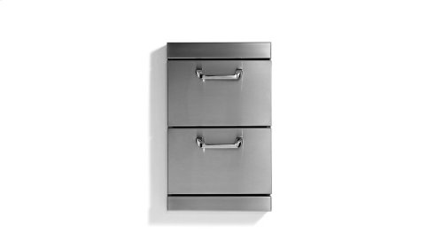 "Utility Drawers - Two full standard drawers w/ 5"" offset handles"
