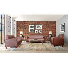 Wine Bonded Leather Love Seat