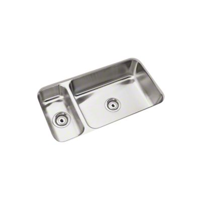 "McAllister® Undercounter High/Low Double-basin Kitchen Sink, 31-3/4"" x 17-1/2"""
