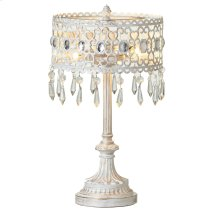 White with Gold Brush Filagree Beaded 2-Light Accent Lamp. 25W Max.