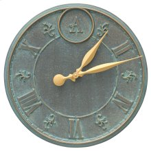 "Monogram 16"" Personalized Indoor Outdoor Wall Clock - Bronze Verdigris"
