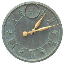 """Monogram 16"""" Personalized Indoor Outdoor Wall Clock - Bronze Verdigris"""