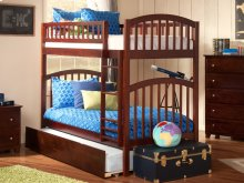 Richland Bunk Bed Twin over Twin with Urban Trundle Bed in Walnut