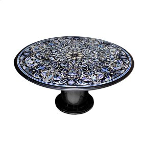 """Mother of Pearl/ Gem Inlaid 60"""" Marble Dining Table"""