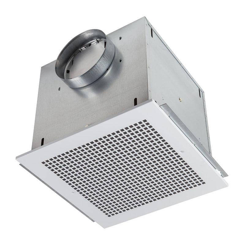 """Ventilator; 316 CFM Horizontal, 3.0 Sones; 314 CFM Vertical, 2.8 Sones. Metal grille. 8"""" rd. duct connector. 120V, Metal Grille"""