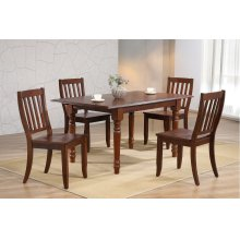 DLU-ADW3660-C20-CT5PC  5 Piece Andrews Butterfly Leaf Dining Set with Napoleon Chairs  Chestnut