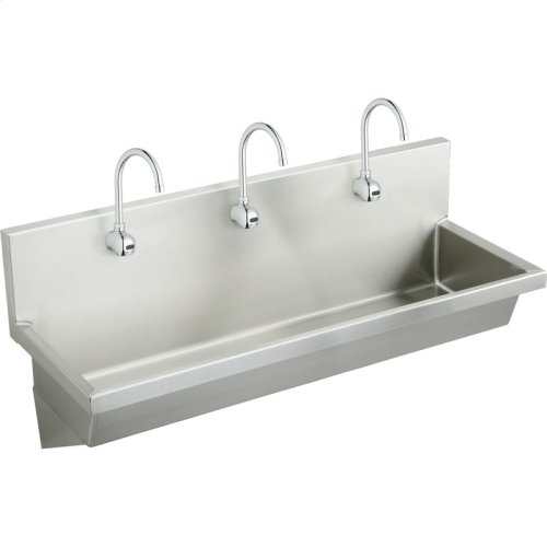 """Elkay Stainless Steel 72"""" x 20"""" x 8"""", Wall Hung Multiple Station Hand Wash Sink Kit"""