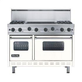 "Cotton White 48"" Sealed Burner Range - VGIC (48"" wide, four burners 24"" wide char-grill)"