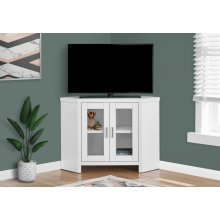 "TV STAND - 42""L / WHITE CORNER WITH GLASS DOORS"