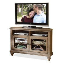 Coventry Corner TV Console Weathered Driftwood finish