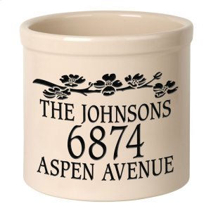 Personalized Dogwood 2 Gallon Stoneware Crock - Black Engraving / Bristol Crock Product Image