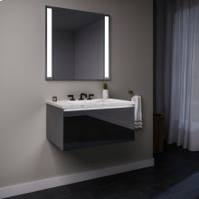 """Curated Cartesian 24"""" X 15"""" X 21"""" Single Drawer Vanity In Tinted Gray Mirror Glass With Slow-close Plumbing Drawer, Night Light and Engineered Stone 25"""" Vanity Top In Silestone Lyra"""