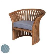 Teak Barrel Chair in Euro Teak Oil with Single Outdoor Sea Green Cushion