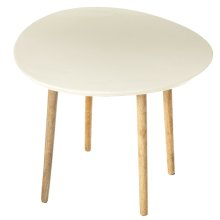 White Enamel Inlay Top Side Table.