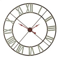 Extra Large Wall Clock with Aqua Numerals & Red Hands. Product Image