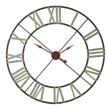 Extra Large Wall Clock with Aqua Numerals & Red Hands.