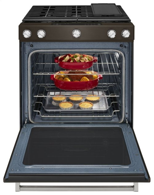 [CLEARANCE] 30-Inch 5-Burner Gas Slide-In Convection Range - Black Stainless. Clearance stock is sold on a first-come, first-served basis. Please call (717)299-5641 for product condition and availability.