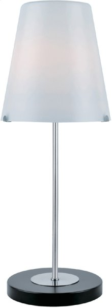 Table Lamp, Blk/ps/frost Glass Shade, E27 Cfl 13w