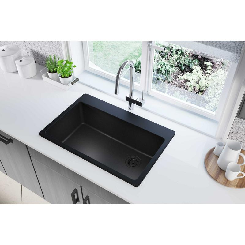 "Additional Elkay Quartz Classic 33"" x 22"" x 9-1/2"", Single Bowl Drop-in Sink, Black"