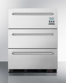 Built-in Commercial ADA Compliant 2-drawer All-refrigerator In Stainless Steel, W/digital Thermostat, Temperature Alarm, Hospital Grade Cord and Pro Handles