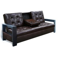 7505 Cappuccino Futon with Cup Holder and Storage