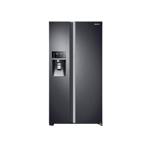 Samsung22 cu. ft. Food Showcase Counter Depth Side-by-Side Refrigerator with Metal Cooling in Black Stainless Steel