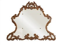 Carved Acanthus Leaf Gold Gilded Mirror with Brass Accents