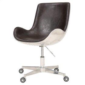 Abner PU Swivel Office Chair Aluminum Frame, Distressed Java