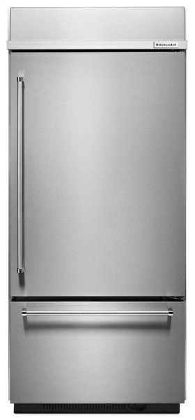 """Built-In Stainless Bottom Mount Refrigerator 20.9 Cu. Ft. 36"""" Width - Stainless Steel"""